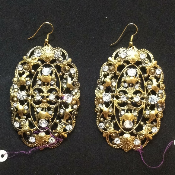 Oval Antique Lk Filigree Vintage Dangle Earrings